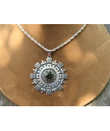 Old Taxco Tourmaline Pendant Mexico Vintage Sterling Silver Necklace - $139.00