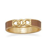 Gold Tone Link Fashion Bangle Bracelet with Tau... - $12.28