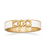 Gold Tone Link Fashion Bangle Bracelet with Bri... - $12.28