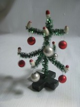 "Tiny  Decorated Tinsel Tree Mercury Glass Balls, Candles  Vintage Design  4"" - $8.86"