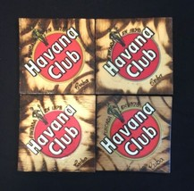 Set of 4 Handmade in Cuba Brown Wooden Havana Club Coaster Square image 1
