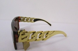 New Women Sunglasses Fashion Men Plastic Leopard Brown Thick Chunky Gold Chains - $8.22