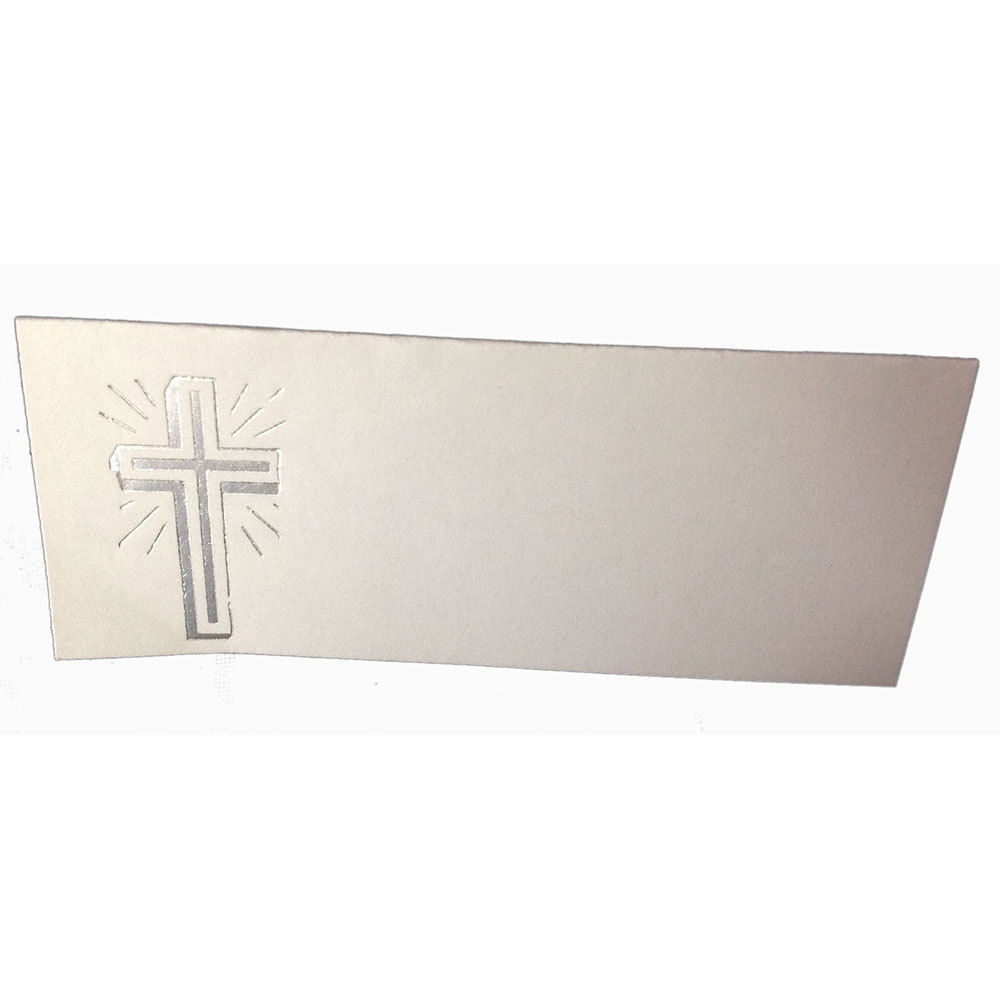 "50 Silver Cross Tent Style White place cards 4.25"" x 1.75 folded"