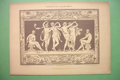 ART NOUVEAU Dekorative Vorbilder Print  - Nude Dancing Muses