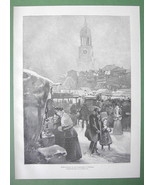 CHRISTMAS Open Market in Hamburg - VICTORIAN Original Engraving - $19.31