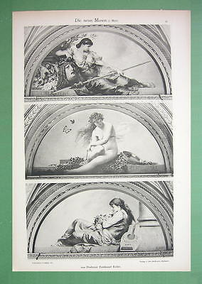 ART NOUVEAU Era Original Print 1898 - Nude Muses Melpomene Terpsichore Erato