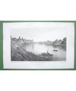 GERMANY Ulm on Danube River - 1823 Original Cop... - $19.31