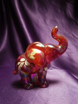 Fenton Hand Painted Red Iridescent Happy Elephant Glass Art Signed by Ar... - $44.55