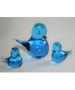 Set of 3 Art Glass Bluebird Figurines  #2399 - $36.00