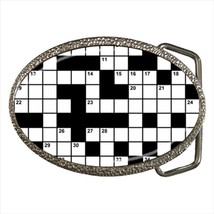 Crossword Puzzles Chrome Finished Belt Buckle - $9.65