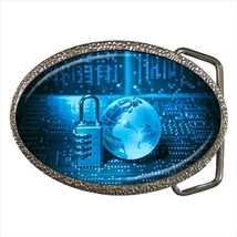 Cryptography Chrome Finished Belt Buckle - $9.65