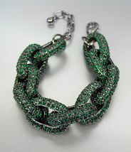 STUNNING Chunky Designer Emerald Green CZ Crystals Encrusted Chain Brace... - $1.338,42 MXN