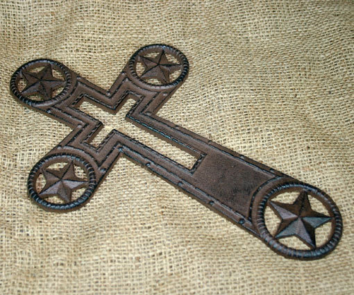 Cast Iron Country Western Inspirational Cross with Stars