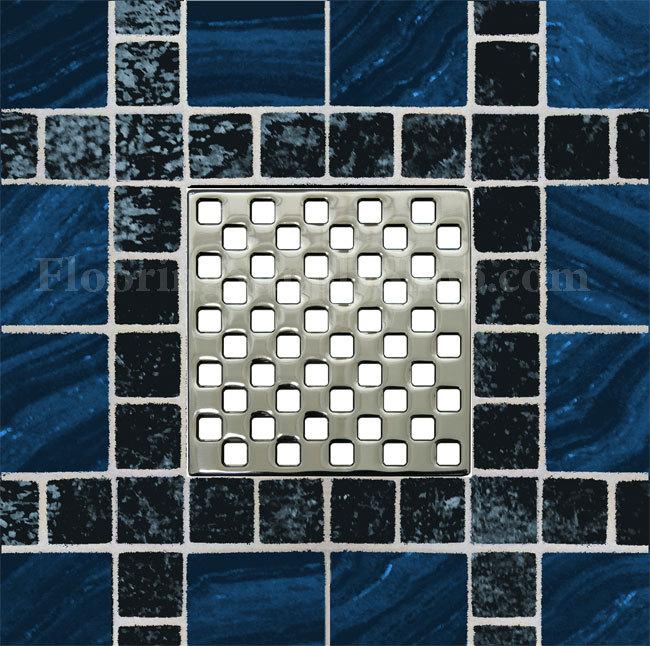Ebbe Unique Square Shower Drain Weave Polished Chrome