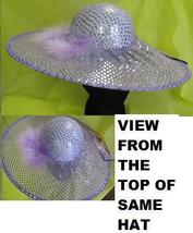BIG BRIM LAVENDER SEQUIN DOTS Hat WITH MARABOU - $9.00