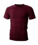 UUANG Men's Solid Basic Jersey High Neck Causal Undershirts Tee Burgundy,XL - $20.02