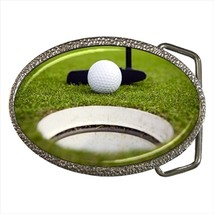 Golf Putting Chrome Finished Belt Buckle - $9.65