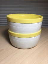 Vintage 60's Set of 2 Cornish therm-o-bowls - yellow and white image 1