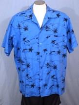 Hilo Hattie 2XL Hawaiian Shirt with Pocket Blue Black Palm Trees - $35.00