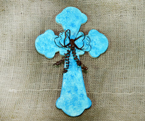 Inspirational Tourqoise Cross with a Rusty Tin Bow