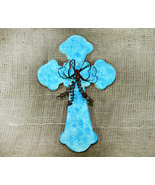 Inspirational Tourqoise Cross with a Rusty Tin Bow - $8.98