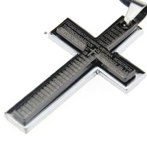 MEN'S DOUBLE CROSS PENDANT WITH ENGRAVED LORD'S PRAYER IN SPANISH - €8,46 EUR
