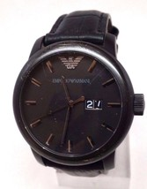 Emporio Armani Men's Classic AR0496 Black Leather Quartz Watch Doesn't Work - £29.81 GBP