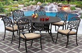 "7PC Eli ALUMINUM PATIO DINING SET 60"" ROUND TABLE SERIES 3000 - ANTIQUE ... - $2,855.16"