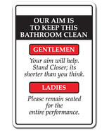 OUR AIM IS TO KEEP THIS BATHROOM CLEAN Novelty ... - $7.90