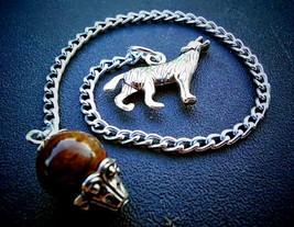 Tiger's Eye Howling Wolf Dowsing Pendulum - $20.00