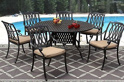 """7PC SAN MARCOS PATIO DINING SET 60"""" ROUND TABLE SERIES 3000 - ANTIQUE BRONZE"""