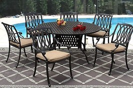 "7PC SAN MARCOS PATIO DINING SET 60"" ROUND TABLE SERIES 3000 - ANTIQUE BR... - $2,855.16"