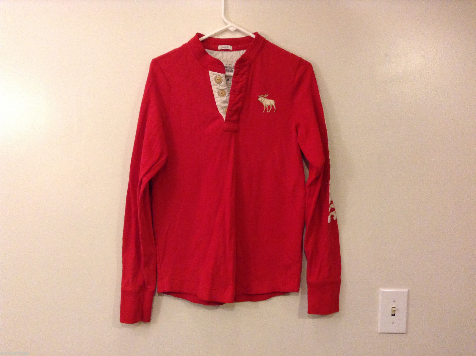 Mens Abercrombie & Fitch Red 100% Cotton Long Sleeve Sweatshirt T-shirt, size M