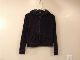 Ladies GAP Stretch Black Velvet Hooded Sport Jacket Sweater Front Zipper, size S