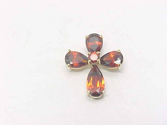 Primary image for RED Cubic Zirconia CROSS Pendant in 14K Yellow Gold Vermeil on Sterling Silver