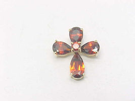 RED Cubic Zirconia CROSS Pendant in 14K Yellow Gold Vermeil on Sterling ... - $35.00