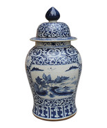 Beautiful Large Blue and White Porcelain Rose Medallion Style Temple Jar... - $599.99