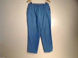 Womens Chic Blue Denim Pants/Jeans Size 12P Stretchy Waist Great 100% Cotton
