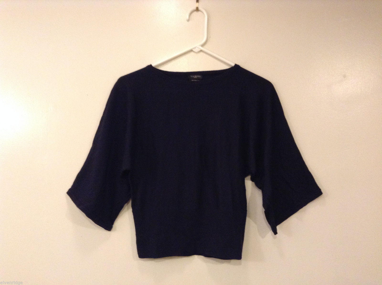 Talbots Petites Navy Blue Blouse Sweater 100% Merino Wool 1/2 sleeve, size S