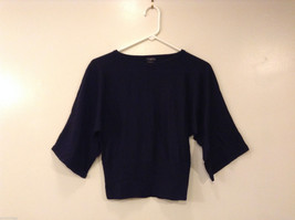 Talbots Petites Navy Blue Blouse Sweater 100% Merino Wool 1/2 sleeve, si... - $29.69