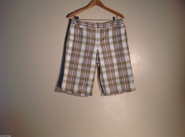 Womens Tommy Bahama Size 12 Light Green Plaid Shorts Excellent Condition