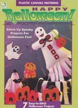 Happy Halloween, Plastic Canvas Pattern HWB 181010 Witch Skeleton Ghost ... - $4.95