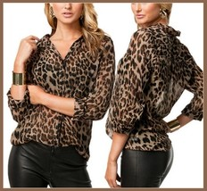 Soft Sheer Chiffon Leopard Blouse Turn Down Collar Long Sleeve Button Do... - $38.95
