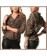 Soft Sheer Chiffon Leopard Blouse Turn Down Collar Long Sleeve Button Do... - $38.95