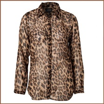 Soft Sheer Chiffon Leopard Blouse Turn Down Collar Long Sleeve Button Down Shirt image 2