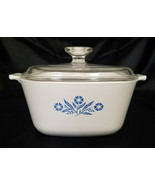 VINTAGE CORNING 1.75 QUART SQUARE CASSEROLE WITH GLASS LID (1957-88) - $27.00