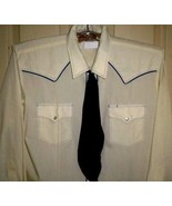 MKH SILVER SPUR navy-corded ivory western-style shirt + navy tie. Size 1... - $15.83