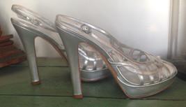 Nina Silver Metallic leather Platform sling backs 8.5M - $39.60
