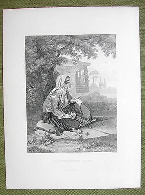 MONTENEGRO Montenegrin Lady Folk Costume - 1880s Antique Print Engraving