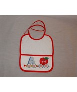 New Baby Pocket Bib A is for Apple Boy or Girl Unisex Finished Cross Stitch - $25.25